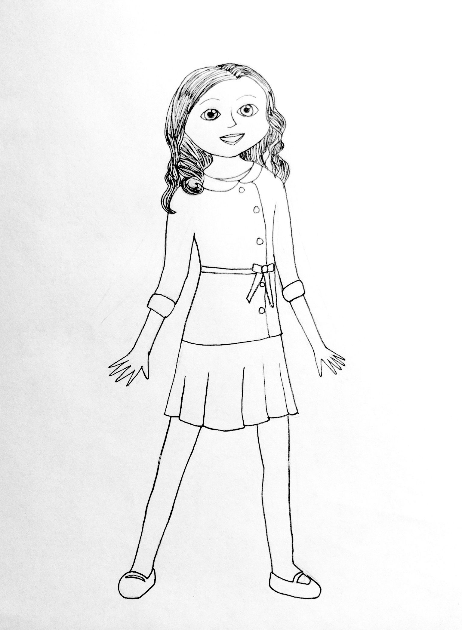This is a graphic of Dramatic American Girl Coloring Book